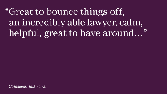 """Great to bounce things off, an incredibly able lawyer, calm, helpful, great to have around…"""